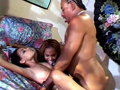 What happens when two hot black babes are left all alone? Well, watch these two hot ebony chicks make out and start licking each other's nipples before finally getting down to share some meaty black cock. They then alternately get fucked while kissing.