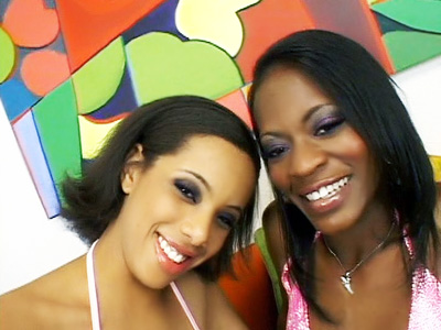Sultry ebonies Alicia Tyler and Jazmyne Sky were so thrilled to work with each other for the first time. They can't hide their excitement as they settle in front of the camera in their sexy bikinis and wasted no time getting down to business.